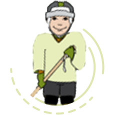 A drawing of a hockey player, representing how one can benefit from calling a reading program for kindergarteners in Illinois.
